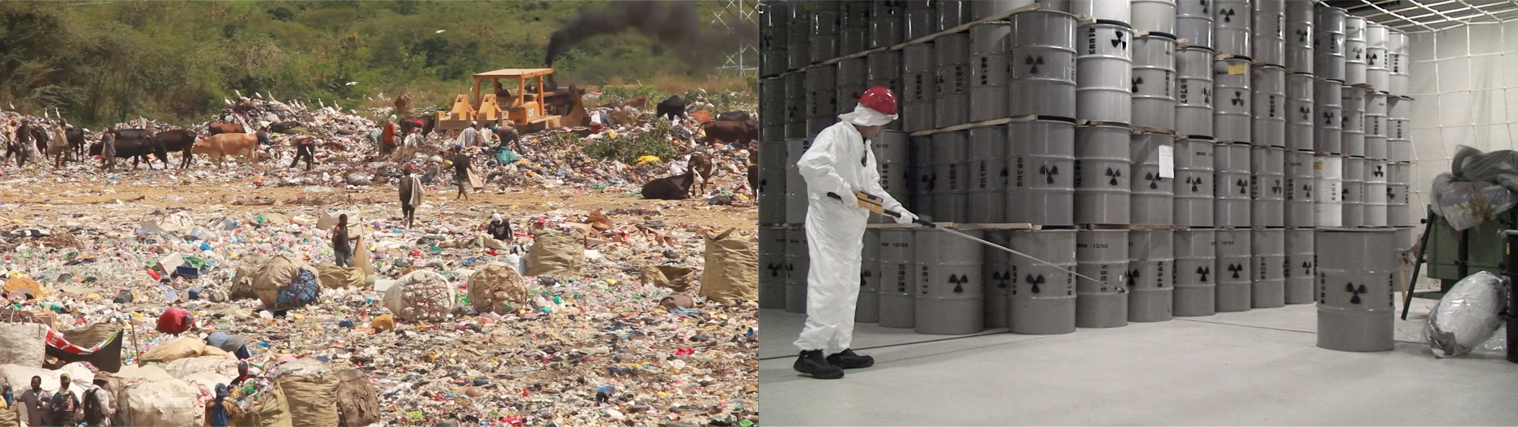 Two adjacent images, left: video still from video by Isabelle Carbonell and Duane Peterson showing a tip and recyclers. Right: still from video by Armin Linke showing a nuclear waste storage facility